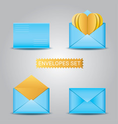 Set blue envelopes open and closed envelope vector