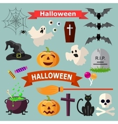 Set of Halloween ribbons and characters vector image