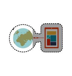 sticker smartphone global hosting database vector image vector image