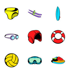 Swim icons set cartoon style vector