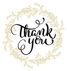 thank you text with round frame on background vector image