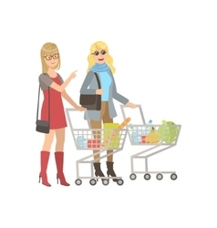 Two Girlfriends Shopping In Grocery Shop vector image vector image