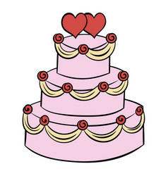 Wedding cake icon cartoon vector