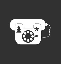 white icon on black background landline phone vector image vector image