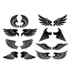 Angel wings black heraldic symbols vector