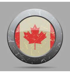 vintage metal button with flag of Canada - grunge vector image
