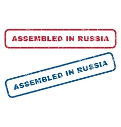 Assembled in russia rubber stamps vector