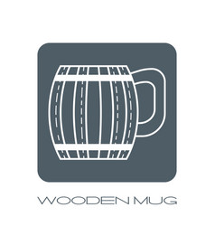 Wooden mug for beer drinks white flat linear vector
