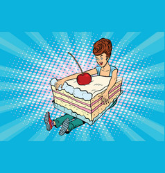 Happy girl and sweet cake vector