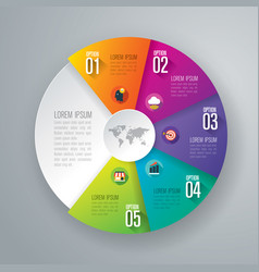Infographics design with 5 options vector