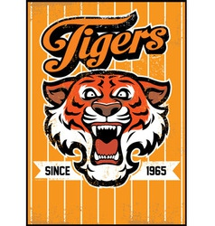 Retro tiger mascot design vector