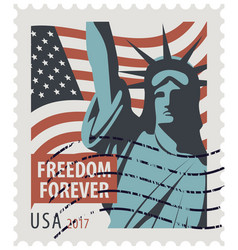 postage stamp with statue of liberty and flag usa vector image