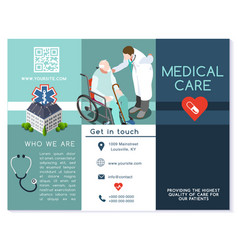 Hospital trifold brochure medical clinic template vector