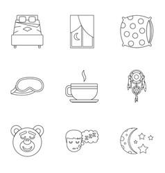 Sleep symbols icon set outline style vector