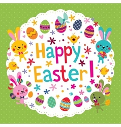 Cute happy easter card vector