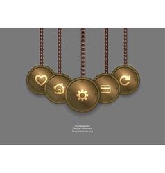 Metallic banner locket steampunk steampunk vector