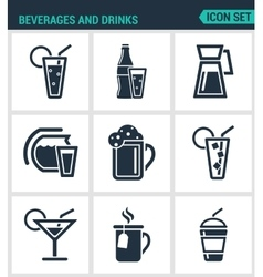 Set of modern icons beverages and drinks vector
