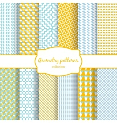 Abstract geometric seamless patterns set vector image