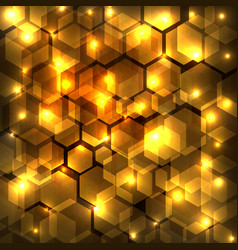 abstract golden shine hexagon geometric on dark vector image vector image