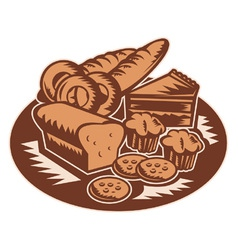 Bakery products pastry bread pie cake vector