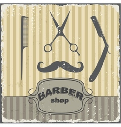 Barber shop vintage retro template vector