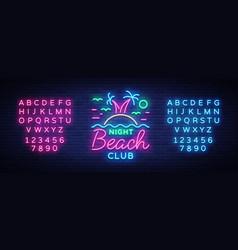 Beach nightclub neon sign logo in neon style vector