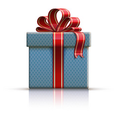 Blue gift box with a bow vector image
