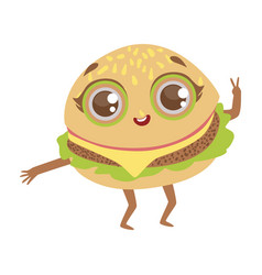 Burger sandwich cute anime humanized cartoon food vector