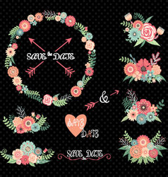 Chalkboard wedding floral elements vector