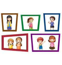 Children and frames vector image vector image