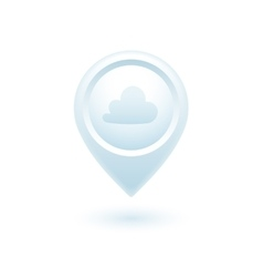Circle weather location pointers with cloud vector image vector image