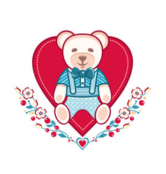 cute bear greeting card vector image