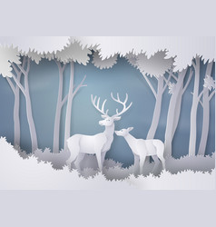 deers in the forestpaper art and craft style vector image