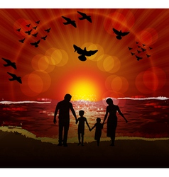 family on beach vector image vector image
