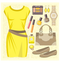 Fashion set with a casual dress vector image vector image