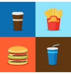 Fastfood junk food cartoon icons vector
