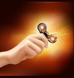 finger spinner fidget hand realistic vector image