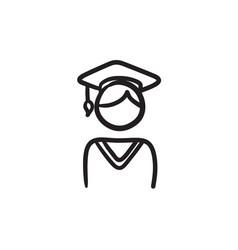 Graduate sketch icon vector