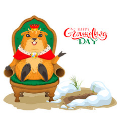 Happy groundhog day greeting card marmot king vector