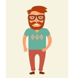 Hipster man flat style young beard man vector