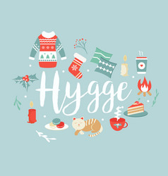 Hygge background with cozy things and elements vector