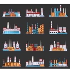 Industrial plant and factory with chimney set of vector