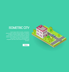 isometric icon of two storey office center web vector image vector image