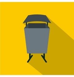 Metal rubbish bin icon flat style vector