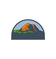 Mountains trees half circle retro vector