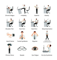 Office syndrome flat icons set vector