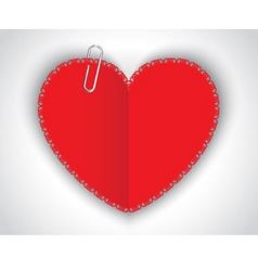 paper heart and clip vector image vector image