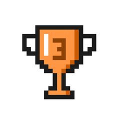 pixel art bronze cup award trophy icon vector image vector image