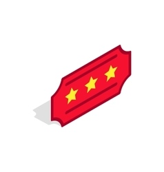 Red ticket icon isometric 3d style vector image