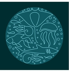Round composition made of sea fauna vector